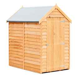 6ft x 4ft  (1.83m x 1.20m) - Super Value Overlap - Apex Wooden Garden Shed - Windowless - Single Door - 10mm Solid OSB Floor
