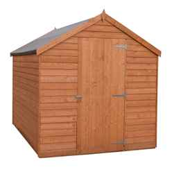 INSTALLED - 8ft x 6ft - 2.39m x 1.83m - Super Value Overlap - Apex Wooden Shed - Windowless - Single Door - 10mm Solid OSB Floor