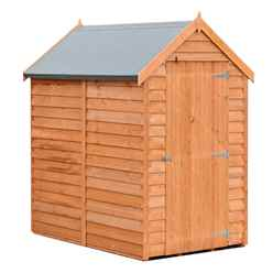 INSTALLED - 6ft x 4ft (1.83m x 1.20m) - Super Value Overlap - Apex Wooden Garden Shed -  Windowless - Single Door - 10mm Solid OSB Floor