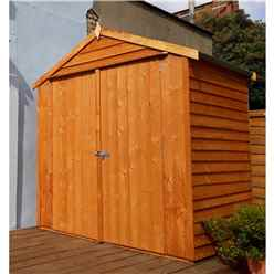 INSTALLED - 4ft x 6ft (1.19m x 1.82m) - Dip Treated Overlap - Apex Garden Shed - Windowless - Double Doors - 10mm Solid OSB Floor