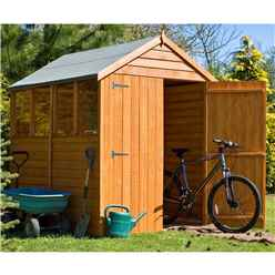 INSTALLED - 7ft x 5ft (2.04m x 1.61m) - Dip Treated Overlap - Apex Garden Shed - 4 Windows - Double Doors - 10mm Solid OSB Floor