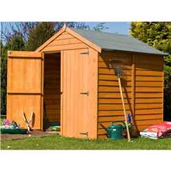 INSTALLED - 6ft x 6ft (1.76m x 1.82m) - Dip Treated Overlap - Apex Garden Shed - Windowless - Double Doors - 10mm Solid OSB Floor INSTALLATION INCLUDED