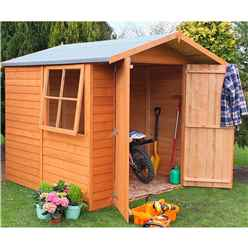 INSTALLED - 7ft x 7ft (1.98m x 2.04m) - Dip Treated Overlap - Apex Garden Shed - 1 Opening Window - Double Doors - 10mm Solid OSB Floor INSTALLATION INCLUDED