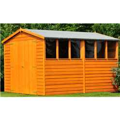 INSTALLED - 10ft x 6ft (2.99m x 1.79m) - Dip Treated Overlap - Apex Garden Shed - 6 Windows - Double Doors - 10mm Solid OSB Floor