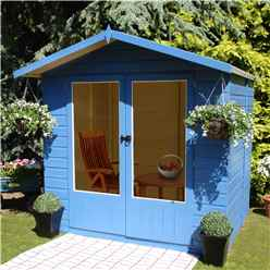 INSTALLED 7ft x 5ft (2.05m x 1.55m)  - Premier Wooden Summerhouse - Double Doors - 12mm T&G Walls & Floor