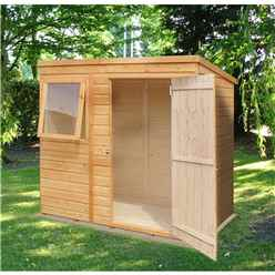 INSTALLED - 6ft x 4ft (1.16m x 1.77m) - Tongue & Groove - Pent Garden Shed - 1 Opening Window - Single Door - 10mm Solid OSB Floor