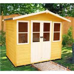 INSTALLED 7ft x 5ft (2.05m x 1.62m) - Premier Wooden Summerhouse - Central Double Doors - 12mm T&G Walls & Floor