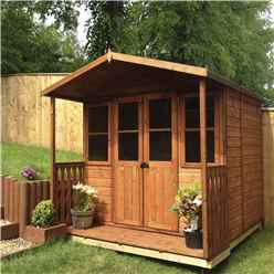 INSTALLED 7ft x 7ft (2.05m x 1.55m) -  Premier Wooden Summerhouse - Double Doors - Side Windows - 12mm T&G Walls & Floor