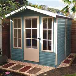 INSTALLED - 7ft x 7ft (2.05m x 1.98m) - Premier Wooden Summerhouse - Single Door - 12mm T&G Walls - Floor - Roof