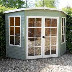 INSTALLED - 7ft x 7ft (1.98m x 2.05m) - Premier Corner Wooden Summerhouse - Double Doors - 12mm T&G Walls & Floor