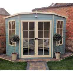 INSTALLED 8ft x 8ft (2.24m x 2.24m) - Premier Wooden Corner Summerhouse - Double Doors - 12mm T&G Walls & Floor