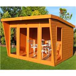 INSTALLED 10 x 10 (2.99m x 3.06m)  - Premier Wooden Summerhouse - Double Doors - 12mm T&G Walls & Floor