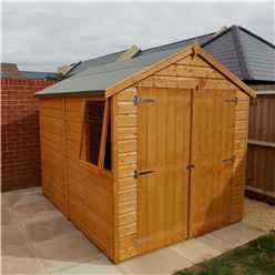 INSTALLED - 8ft x 6ft (2.38m x 1.79m) - Tongue & Groove Apex Garden Shed - 1 Window - Double Doors - 10mm OSB Floor