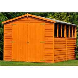 10ft x 10ft  (2.99m x 2.99m) - Dip Treated Overlap - Apex Wooden Garden Shed - 6 Windows - Double Doors - 10mm Solid OSB Floor