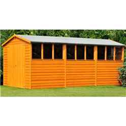 15ft x 10ft  (4.52m x 2.99m) - Dip Treated Overlap - Apex Wooden Garden Shed - 9 Windows - Double Doors - 10mm Solid OSB Floor
