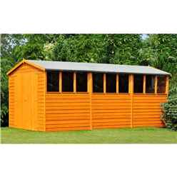 INSTALLED 15ft x 10ft (4.52m x 2.99m) - Dip Treated Overlap - Apex Wooden Garden Shed - 9 Windows - Double Doors - 10mm Solid OSB Floor