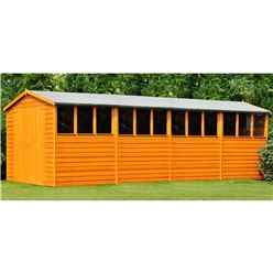 20ft x 10ft  (6.05m x 2.99m) - Dip Treated Overlap - Apex Wooden Garden Shed - 12 Windows - Double Doors - 10mm Solid OSB Floor