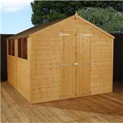 INSTALLED 10ft x 8ft Select Tongue And Groove Apex Shed With 2 Windows And Double Door (12mm Tongue and Groove Floor) (10mm Solid OSB Roof) - 48hr + Sat Delivery*