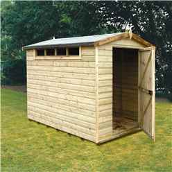 INSTALLED - 8ft x 6ft (2.39m x 1.79m) - Tongue And Groove Security - Apex Garden Wooden Shed - High Level Windows - Single Door - 12mm Tongue And Groove Floor And Roof -  INSTALLATION INCLUDED