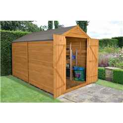 INSTALLED Overlap Dip Treated 10ft x 8ft Apex Shed - Double Door With No Windows (2.59m x 3.10m)