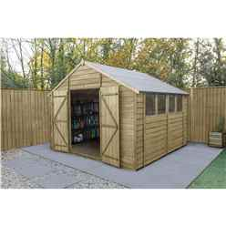 10ft x 10ft (3.04m x 3.06m) Overlap Apex Pressure Treated Shed With Double Door and 4 Windows