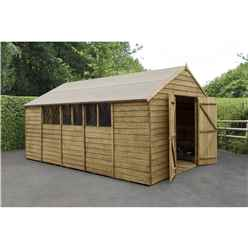 15ft x 10ft Apex Overlap Pressure Treated Shed - Double Door With 6 Windows (3.05m x 4.55m)