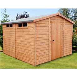10ft x 10ft (2.99m x 2.99m) - Tongue And Groove Security - Apex Garden Wooden Shed / Workshop - High Level Windows - Single Door - 12mm Tongue And Groove Floor And Roof