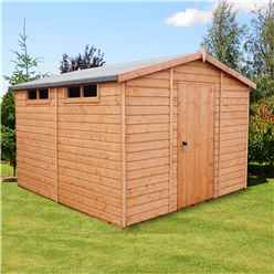 INSTALLED - 10ft x 10ft (2.99m x 2.99m) - Tongue And Groove Security - Apex Garden Wooden Shed - High Level Windows - Single Door - 12mm Tongue And Groove Floor And Roof - INCLUDES INSTALLATION