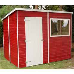 8ft x 6ft (1.83m x 2.39m) - Tongue And Groove - Pent Garden Shed - 1 Window - Single Door - 10mm Solid OSB Floor