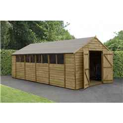 20ft x 10ft (3.04m x 6.03m) Overlap Apex Pressure Treated Shed With Double Doors and 8 Windows