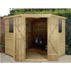 8ft x 8ft (3.4m x 2.8m) Pressure Treated Overlap Corner Shed With Double Doors and 2 Windows