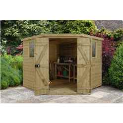 8ft x 8ft (3.46m x 2.80m) Tongue & Groove Pressure Treated Corner Shed With Double Doors and 2 Windows