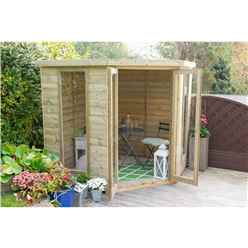 INSTALLED Arlington Premium Tongue & Groove 7ft x 7ft Corner Summerhouse (2.96m x 2.30m)