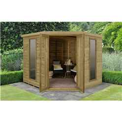 INSTALLED Arlington Premium Tongue & Groove 8ft x 8ft Corner Summerhouse (3.46m x 2.80m)