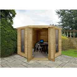 INSTALLED Oakley Overlap 8ft x 8ft Corner Summerhouse (3.46m x 2.80m)