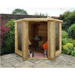 INSTALLED Oakley Overlap 7ft x 7ft Corner Summerhouse (2.96m x 2.30m)