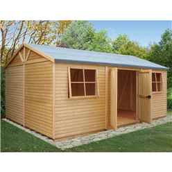 12ft x 18ft - (3.73m x 5.39m) - Tongue & Groove - Apex Workshop - 2 Opening Window - Double Doors - 16mm Tongue & Groove Floor