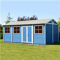 12ft x 30ft - (3.73m x 8.98m) - Tongue & Groove - Apex Workshop - 2 Opening Window - Double Doors - 16mm Tongue & Groove Floor