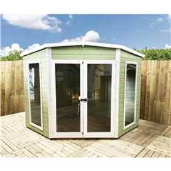 8ft x 8ft (2.25m x 2.25m) - Premier Corner Wooden Summerhouse - Double Doors - Side Windows - 12mm T&G Walls & Floor (Show Site)