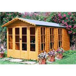 13ft x 7ft (3.96m x 2.05m) - Premier Wooden Summerhouse + Veranda + Overhang - 12mm T&G - Walls - Floor - Roof