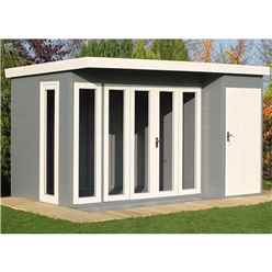 12ft x 8ft (3.59m x 2.39) - Tongue And Groove - Pent Wooden Summerhouse - 4 Windows - Double Doors (12mm Tongue And Groove Floor & Roof)