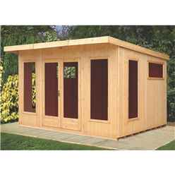 12ft x 10ft (3.59m x 2.99m) - Tongue And Groove - Pent Wooden Summerhouse - 6 Windows - Double Doors (16mm Tongue And Groove Floor)