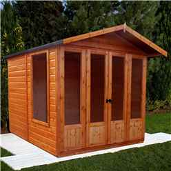 INSTALLED 7ft x 7ft (2.69m x 2.05m) Premier Wooden Summerhouse - Double Doors + Side Windows - 12mm T&G Walls - Floor - Roof