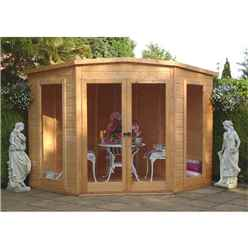 INSTALLED 7ft x 7ft (2.69m x 2.05m) - Premier Corner Wooden Summerhouse - Double Doors - Side Windows - 12mm T&G Walls & Floor