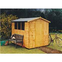 4ft x 6ft (1.89m x 1.33m) - Tongue And Groove - Apex Shed - 3 Windows -  Single Doors - 12mm Tongue And Groove Floor