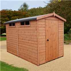 INSTALLED 10ft x 8ft  (2.99m x 2.39m) - Tongue And Groove Security - Apex Garden Wooden Shed / Workshop - Single Door - 12mm Tongue And Groove Floor And Roof