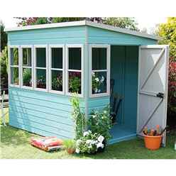 INSTALLED 8ft x 8ft (2.44m x 2.39m) -  Premier Pent Wooden Summerhouse - Potting Shed - 2 Opening Windows - Single Side Door - 12mm T&G Walls - Floor - Roof
