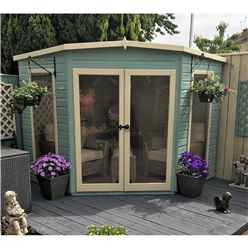 INSTALLED 8ft x 8ft (2.25m x 2.25m) - Premier Corner Wooden Summerhouse - Double Doors - Side Windows - 12mm T&G Walls & Floor