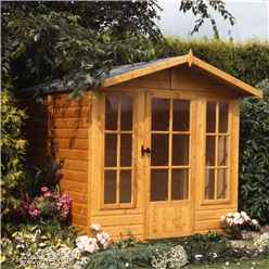 INSTALLED 10ft x 7ft (2.97m x 2.05m) - Premier Wooden Summerhouse - Single Doors - 12mm T&G Walls - Floor - Roof