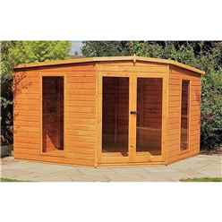 INSTALLED 10ft x 10ft (2.99m x 2.99m) - Premier Corner Wooden Summerhouse - Double Doors - 12mm T&G Walls - Floor - Roof